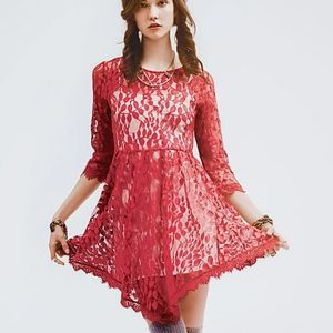 Free people red floral mesh lace dress